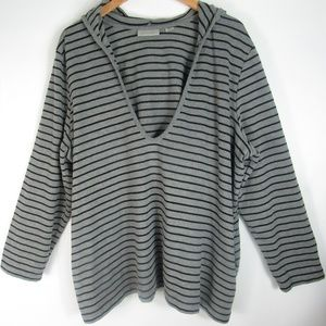 Avenue- Blouse Gray Black Hoodie Sweater- Pockets